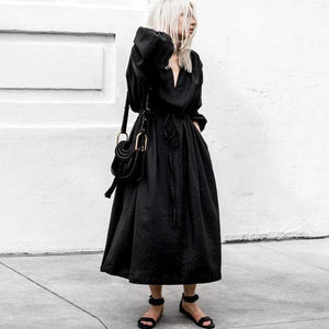 Ficcia Trendy Loose V-Neck Plain Midi Dress