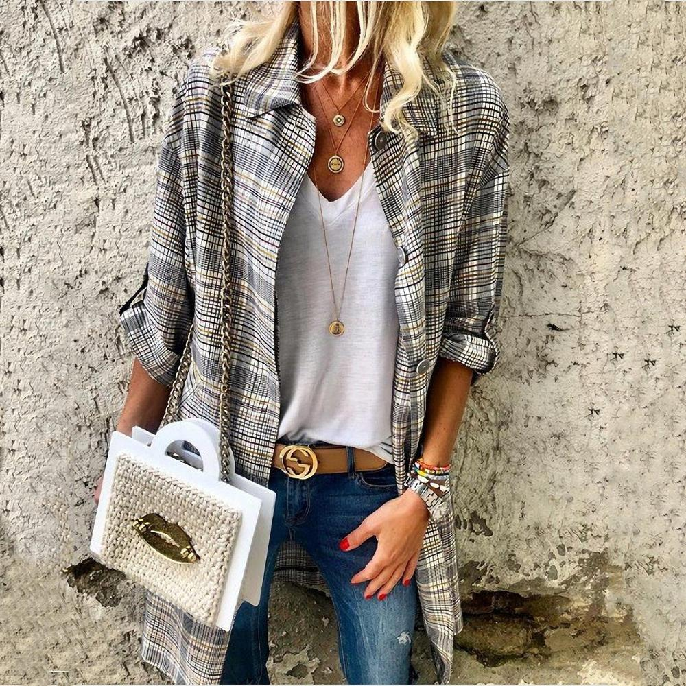 Ficcia Plaid Printed Long Sleeve Blouse Coat