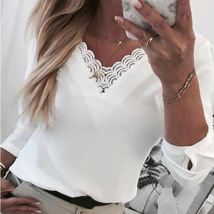 Ficcia Elegant Solid Lace Neckline Long Sleeve Casual Blouse