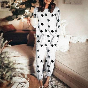 Ficcia Star Print Round Neck Lounge Set