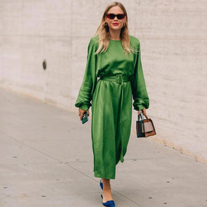 Ficcia Green Puff Sleeve Round Neck Maxi Dress