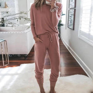 Ficcia Plain Casual Pullover Round Neck Lounge Two-Piece Sets