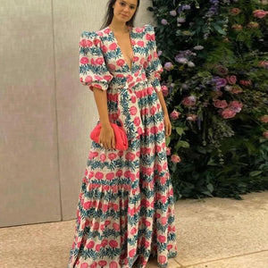 Ficcia Puff Sleeve Floral Print V-Neck Maxi Dress