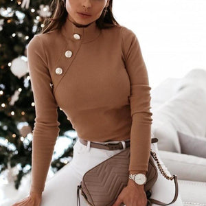 Ficcia Long Sleeve Turtle Neck Oblique Button Sweater