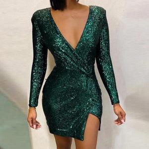 Ficcia Glitter Plunge Irregular Sequins Dress