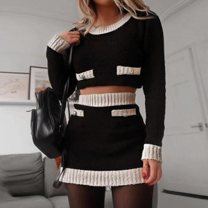 Ficcia Long Sleeve Crop Top With Mini Sweater Dress Two-Piece Set