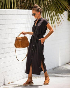 Ficcia Black Button Down Causal Dress