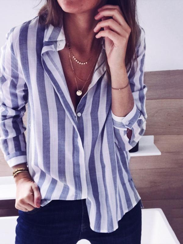 Ficcia Fashion Striped Casual Blouse