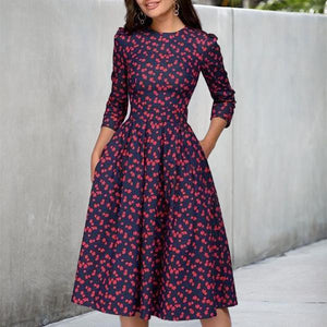 Ficcia 3/4 Sleeve Floral Printed Skater Party Dress