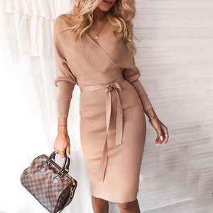 Ficcia Sexy Plain V-Neck Fitted Waist Long Sleeve Mini Dress