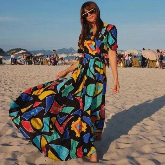 Ficcia Fashion Irregular Printed V-Neck Short Sleeve Big Swing Beach Dress
