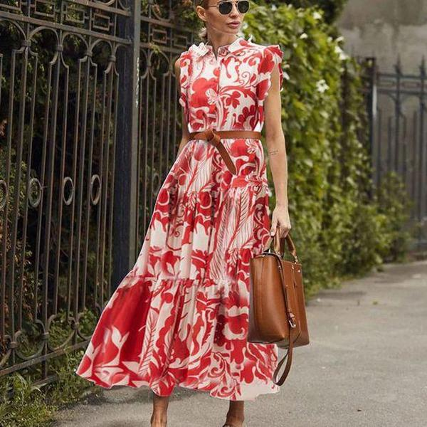 Ficcia Stunning Red Flutter Sleeve Print Midi Dress
