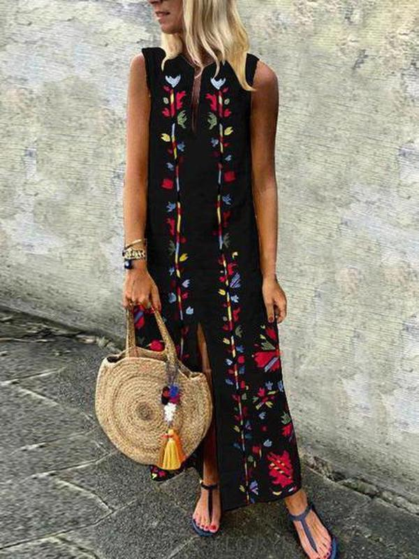 Ficcia V-Neck Printed Cotton/Linen Maxi Dress