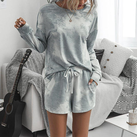 Ficcia Casual Grey Round Neck Loose Top And Drawstring Lounge Shorts Set