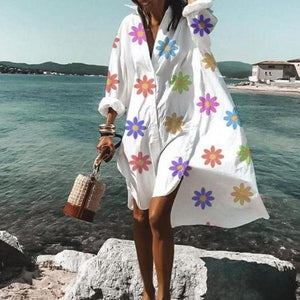 Ficcia Casual Loose V-Neck Long Sleeve Printed Beach Dress