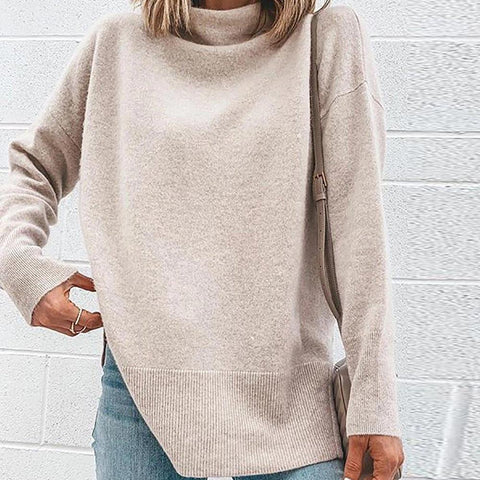 Ficcia Casual Solid Color Turtleneck Long Sleeve Sweater