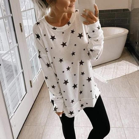 Ficcia Casual Star Printed Long Sleeve Tee