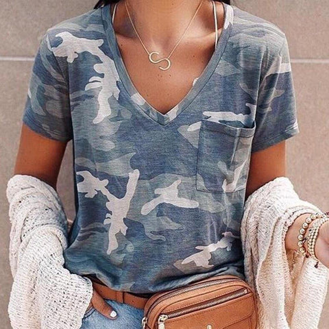 Ficcia Casual V-Neck Camouflage T-Shirt
