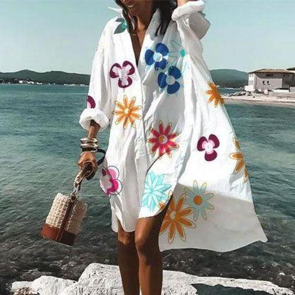 Ficcia Chic V-Neck Long Sleeve Loose Floral Dress