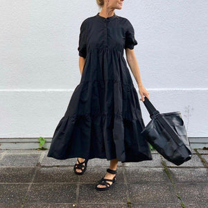 Ficcia Classic Black Round Neck Short Sleeve Loose Pleated Splice Maxi Dress