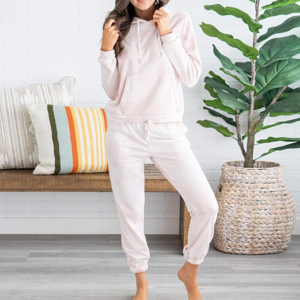 Ficcia Pinky Tie-Dyed Hooded Jogger Two-Piece Sets