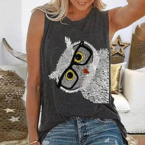 Ficcia Cute Owl Printed Round Neck Sleeveless Top