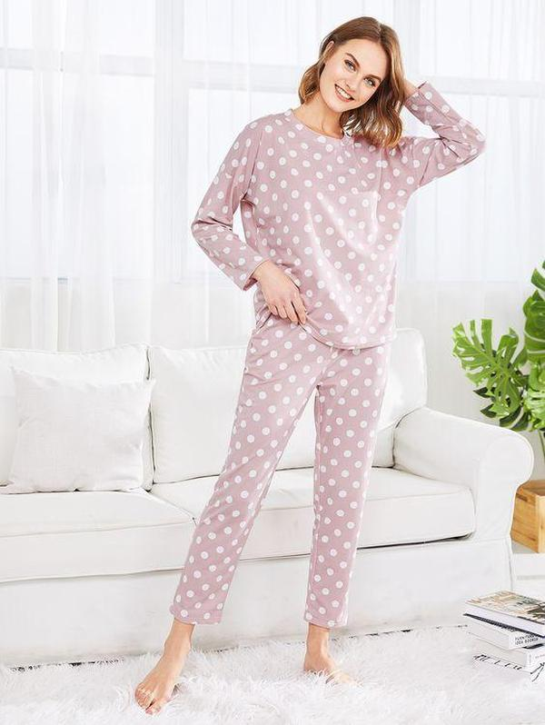 Ficcia Chic Pink Polka Dot Long Sleeve Lounge Two Piece Set