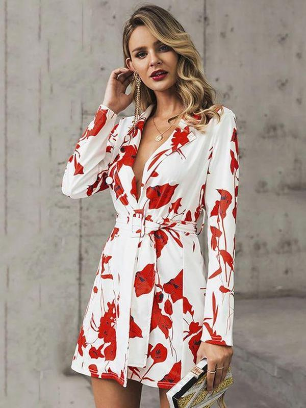Ficcia Glamorous V-Neck Long Sleeve Printed Slim Fit Mini Dress