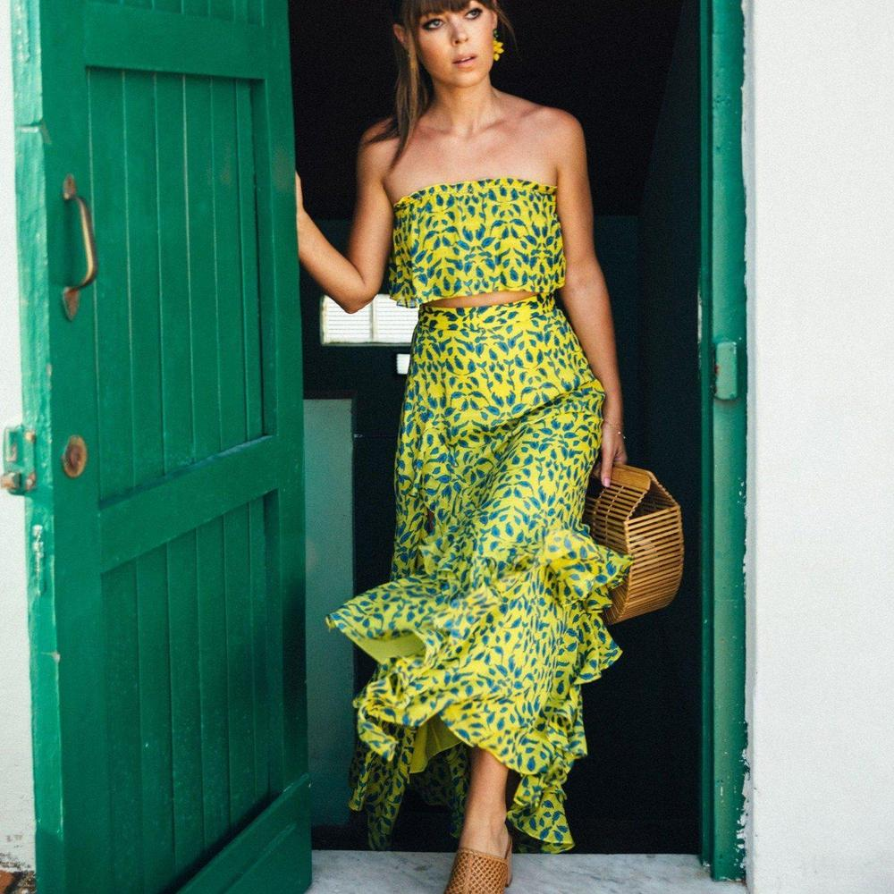 Ficcia Green Print Ruffled Sleeveless Two-Piece Dress