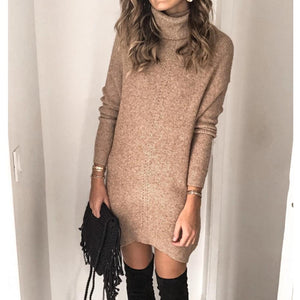 Ficcia Classy High Neck Long Sleeve Sweater Mini Dress