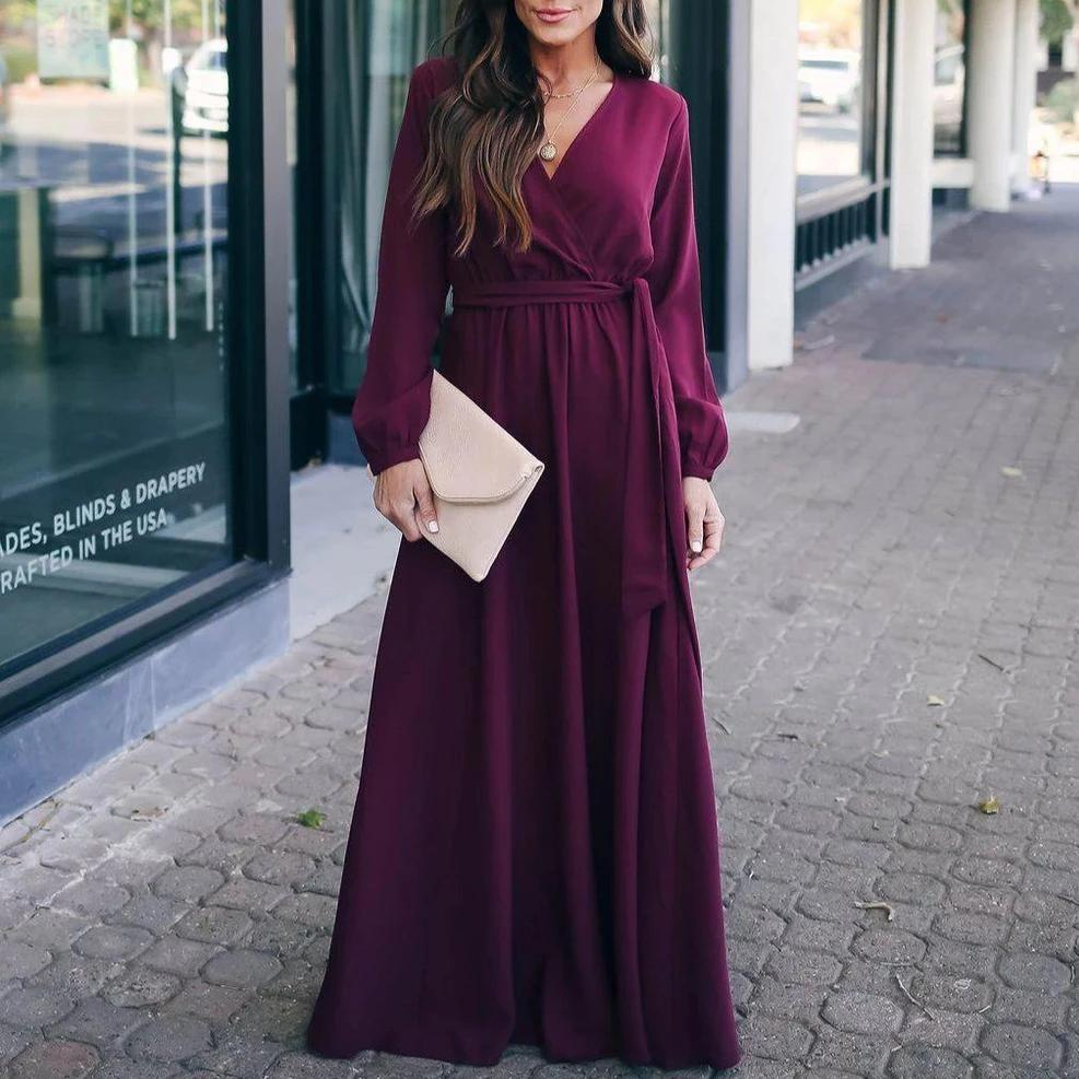 Ficcia V-Neck Long Sleeve Maxi Evening Dress