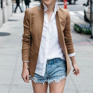 Ficcia Casual Simple Stand Collar Solid Color Short Blazer