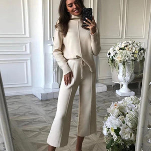 Ficcia Ivory Mock Neck Long Sleeve Two-Piece Sweater Set