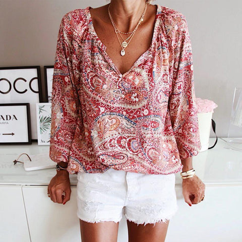 Ficcia Let's Do This Paisley Print Blouse