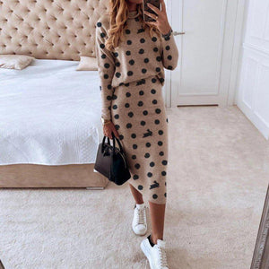 Ficcia Rabbit Polka Dot Long Sleeve High Neck Two-Piece Dress