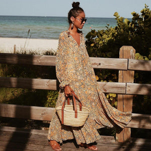 Ficcia Toes in the Sand Floral Print Maxi Dress
