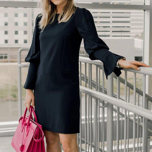 Ficcia Black Long Poet Sleeve Mini Dress