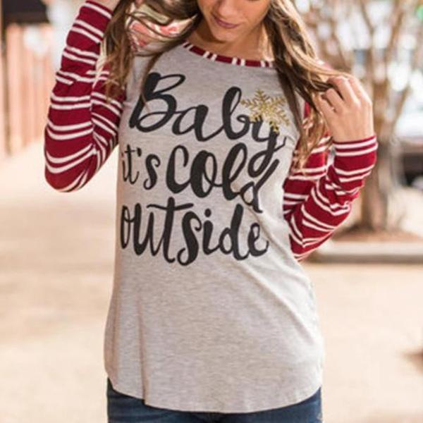 Letter Print Round Neck Long Sleeve Tee