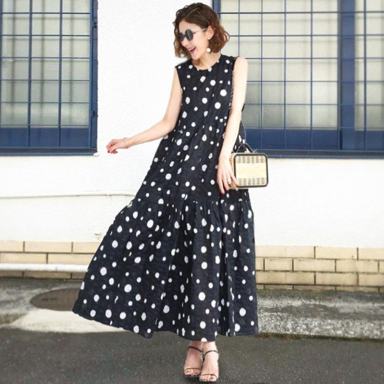 Ficcia Black Polka Dots Print Maxi Dress
