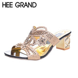 HEE GRAND Woman Slippers Floral Bling Glitter PU Leather Summer Style Shoes Woman Square Heel Fashion Slides Sandals XWT594 - Oboapparel Egypt
