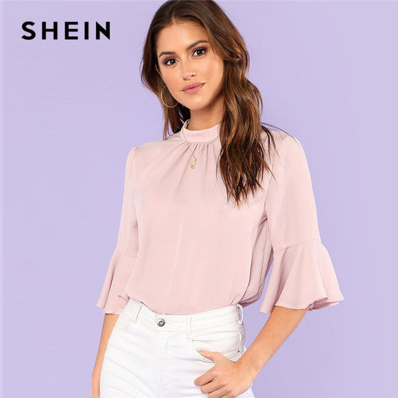 SHEIN Pleated Detail Keyhole Back Flounce Sleeve Top 2018 Summer Half Sleeve Stand Collar Blouse Women Ruffle Elegant Blouse - Oboapparel Egypt