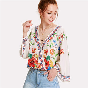 SHEIN Surplice Neckline Florals Top 2018 Summer V Neck Long Sleeve Print Blouse Women Patchwork Floral Beach Blouse - Oboapparel Egypt