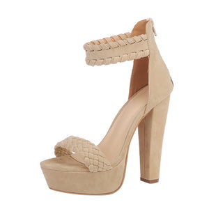 Women Ladies Sandals Waterproof Super High Heels Party Ankle Square Heel Shoes - Oboapparel Egypt