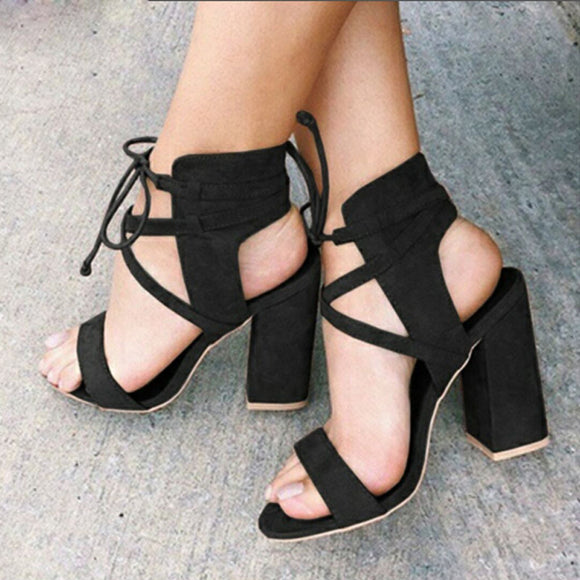 Womens Ladies Block High Heel Sandals Platforms Bandage Shoes Buckle High Heels - Oboapparel Egypt