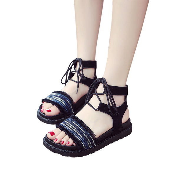 Women Mixed Colors Cross Tied Flat Heel Peep Heel Sandals Beach Shoes - Oboapparel Egypt