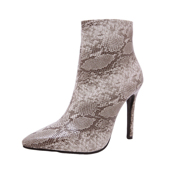 Fashion Women Snake Skin High Heeled Martin Sexy Thin Heels Zipper Boots - Oboapparel Egypt