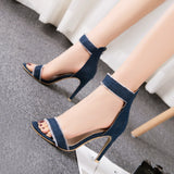 Pumps Fashion High Heels Shoes Wedding Women Denim High-Heeled Sandals - Oboapparel Egypt