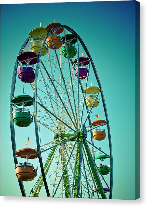 Ferris Wheel Photo with Blue Sky Canvas Print