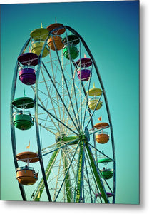 Ferris Wheel Photo against blue sky - Metal Print