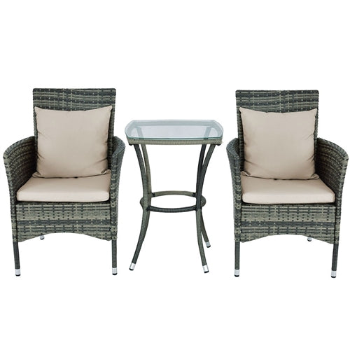 Patio Rattan Chairs and Table Set with Cushions